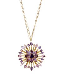 Carolee - Metallic Large Embellished Flower Pendant Long Necklace - Lyst