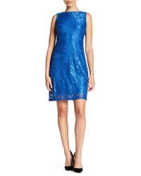 Sharagano - Blue Sleeveless Lace Dress (petite) - Lyst
