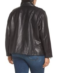 MICHAEL Michael Kors - Black Classic Leather Moto Jacket (plus Size) - Lyst