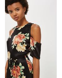 TOPSHOP - Black Floral Cold Shoulder Jumpsuit - Lyst