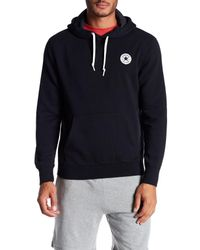 Converse | Black Solid Logo Patch Hoodie for Men | Lyst