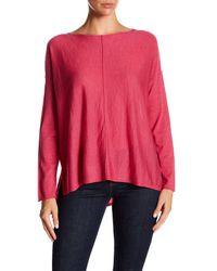 Eileen Fisher | Pink Bateau Neck Seamed Drop Shoulder Merino Wool Sweater | Lyst