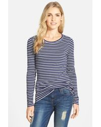 bc8bdfff3 Lyst - Caslon Long Sleeve Crewneck Cotton Tee (petite) in Blue
