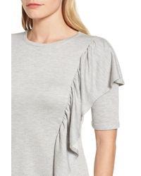 Halogen - Gray Ruffle Sweatshirt Dress - Lyst