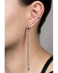 Kenneth Jay Lane - Metallic Cz Mismatched Ear Crawler And Stud Earrings - Lyst