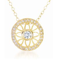 Genevive Jewelry - Metallic Gold Plated Sterling Silver Prong & Bezel Set Cz Pendant Necklace - Lyst