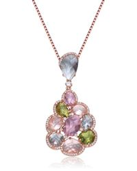 Genevive Jewelry - Metallic Rose Gold Plated Sterling Silver Multicolor Cz Cluster Pendant Necklace - Lyst