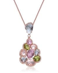 Genevive Jewelry | Metallic Rose Gold Plated Sterling Silver Multicolor Cz Cluster Pendant Necklace | Lyst