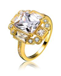 Genevive Jewelry - Metallic Gold Plated Sterling Silver Square Cz Ring - Lyst