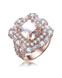 Genevive Jewelry - Metallic Rose Gold Plated Sterling Silver Multicolor Cz Ring - Size 7 - Lyst