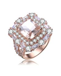 Genevive Jewelry | Metallic Rose Gold Plated Sterling Silver Multicolor Cz Ring - Size 7 | Lyst