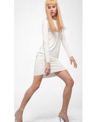 Norma Kamali | White Long Sleeve Crew Dress To Knee | Lyst