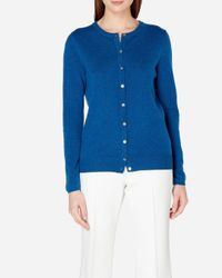 N.Peal Cashmere - Blue Round Neck Cashmere Cardigan - Lyst