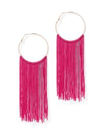 New York & Company - Pink Fringed Hoop Earring - Lyst