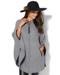 New York & Company - Gray Faux-leather Trim Zip Poncho - Lyst