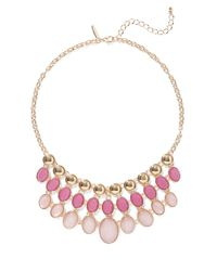 New York & Company - Pink Goldtone Beaded Statement Necklace - Lyst