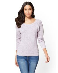 New York & Company - Purple Open-stitch Marled Sweater - Lyst