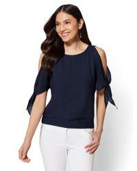 New York & Company Blue 7th Avenue - Split-sleeve Dolman Blouse