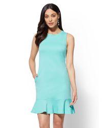 New York & Company - Green Flounced-hem Cotton Flare Dress - Lyst