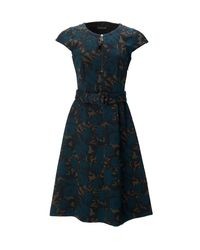 Etro - Blue Printed Belted Dress - Lyst