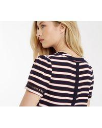 Oasis - Blue Stripe Trim Viscose T-shirt - Lyst