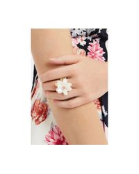 Oasis - Metallic Stretch Flower Ring - Lyst