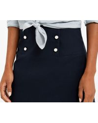 Oasis - Blue Button Detail Skirt - Navy - Lyst