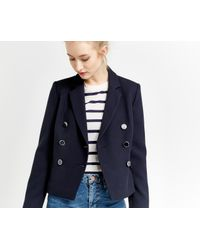 Oasis - Blue Double Breasted Jacket - Lyst
