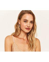 Oasis - Metallic Crystal Flower Earrings - Lyst