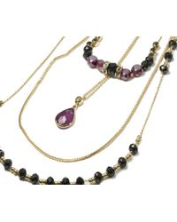 Oasis - Metallic Three Row Beaded Necklace - Lyst