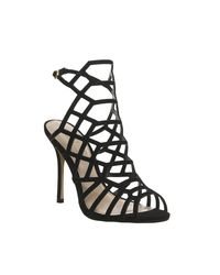 Office   Black Trance Caged Heels   Lyst