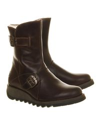 Fly London - Brown Sett Low Wedge Buckle Boots - Lyst