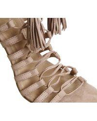 Office - Natural Adorned Multi Strap Tassel Heels - Lyst