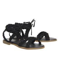 Office | Black Boho Plaited Sandals | Lyst