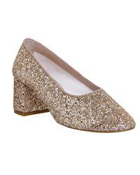 Office - Metallic Mia Ballet Block Heels - Lyst