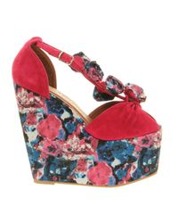 Jeffrey Campbell - Red Rosi Fab Wedge Sandal - Lyst