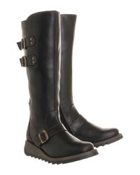 Fly London | Black Solv Low Wedge Buckle Boots | Lyst
