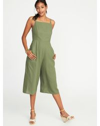 904927aa644 Lyst - Old Navy Waist-defined Square-neck Linen-blend Jumpsuit in Green