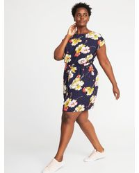 Old Navy Waist-defined Plus-size Dress in Blue - Lyst