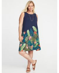 c6c04e260e98 Lyst - Old Navy Sleeveless Plus-size Jersey-knit Swing Dress in Blue
