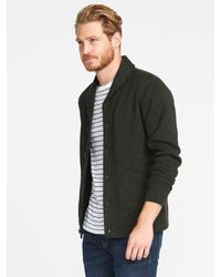 30a7beeb763 Lyst - Old Navy Shawl-collar Sweater-knit Fleece Cardigan in Green ...