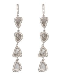 Nina Runsdorf - Multicolor Four Tier Slice Diamond Earrings - Lyst