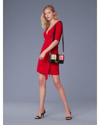 b2ec6fce50 Lyst - Diane von Furstenberg Short-sleeve Sweater Wrap Dress in Red