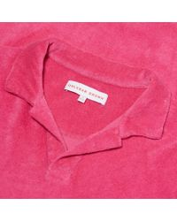 Orlebar Brown - Pink Terry Towelling Resort-polo Aus Frottee In Paradise for Men - Lyst