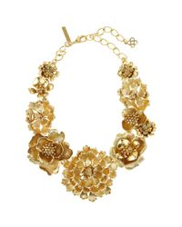 Oscar de la Renta - Metallic Blooming Bold Flower Necklace - Lyst