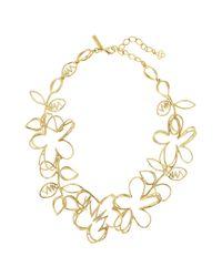 Oscar de la Renta - Metallic Botanical Statement Necklace - Lyst