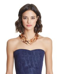 Oscar de la Renta - Multicolor Hammered Chain Link Necklace - Lyst