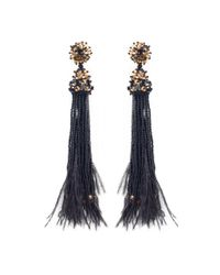 Oscar de la Renta | Black Feather And Crystal Tassel Earrings | Lyst