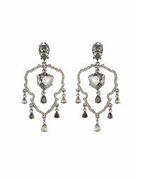 Oscar de la Renta - Metallic Swarovski Shield Chandelier Earrings - Lyst
