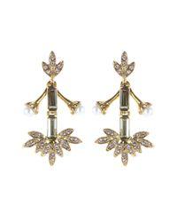 Oscar de la Renta - Metallic Crystal Baguette Leaf Earrings - Lyst